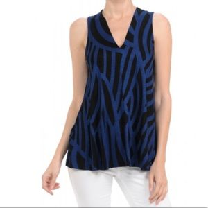 Hourglass Lilly V Neck Tunic Top Navy/BLack